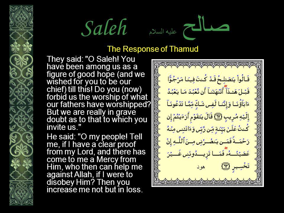 Saleh عليه السلام صالح They said: O Saleh.