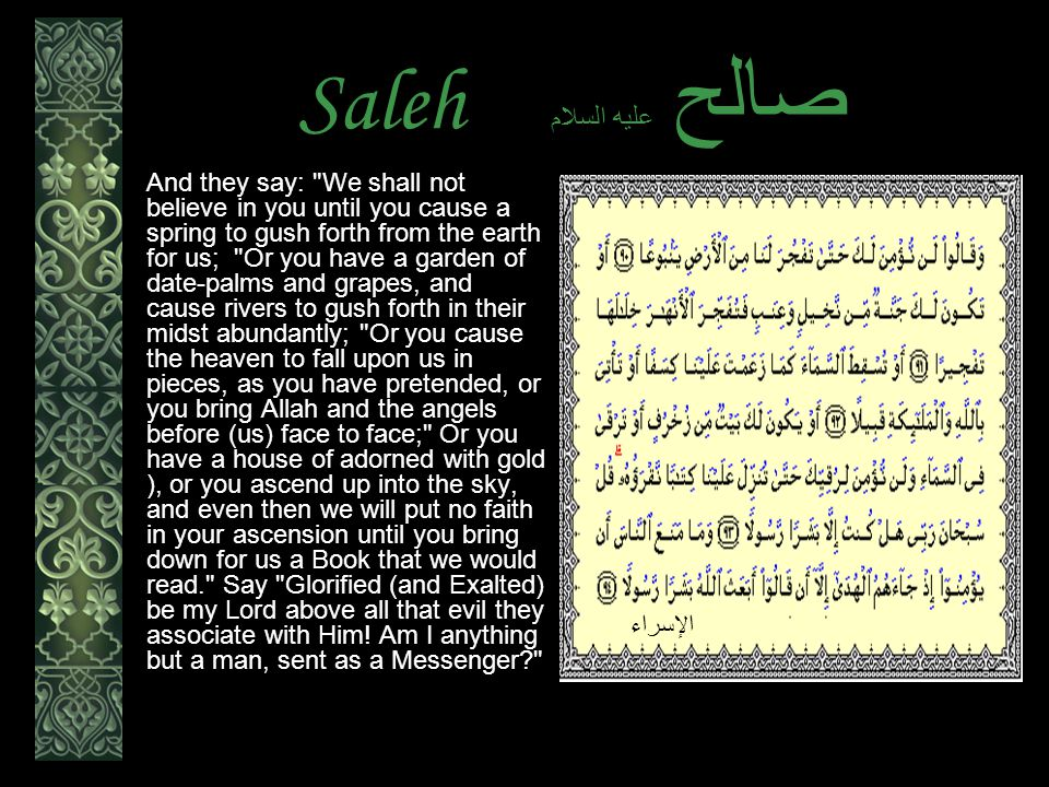 Saleh عليه السلام صالح And they say: We shall not believe in you until you cause a spring to gush forth from the earth for us; Or you have a garden of date-palms and grapes, and cause rivers to gush forth in their midst abundantly; Or you cause the heaven to fall upon us in pieces, as you have pretended, or you bring Allah and the angels before (us) face to face; Or you have a house of adorned with gold ), or you ascend up into the sky, and even then we will put no faith in your ascension until you bring down for us a Book that we would read. Say Glorified (and Exalted) be my Lord above all that evil they associate with Him.