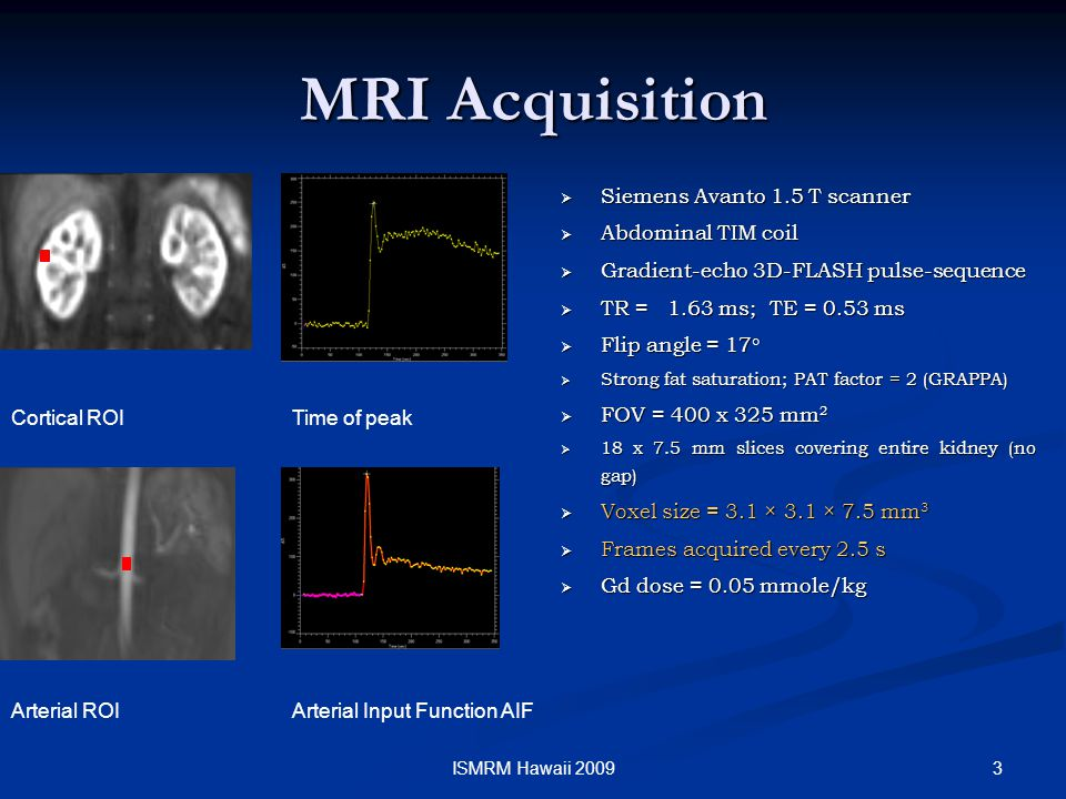 3ISMRM Hawaii 2009 MRI Acquisition  Siemens Avanto 1.5 T scanner  Abdominal TIM coil  Gradient-echo 3D-FLASH pulse-sequence  TR =1.63 ms; TE = 0.53 ms  Flip angle = 17 °  Strong fat saturation; PAT factor = 2 (GRAPPA)  FOV = 400 x 325 mm 2  18 x 7.5 mm slices covering entire kidney (no gap)  Voxel size = 3.1 × 3.1 × 7.5 mm 3  Frames acquired every 2.5 s  Gd dose = 0.05 mmole/kg Cortical ROITime of peak Arterial ROIArterial Input Function AIF