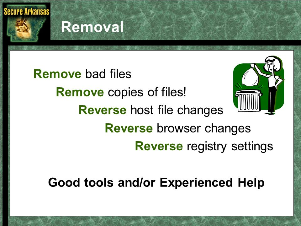 Removal Remove bad files Remove copies of files.