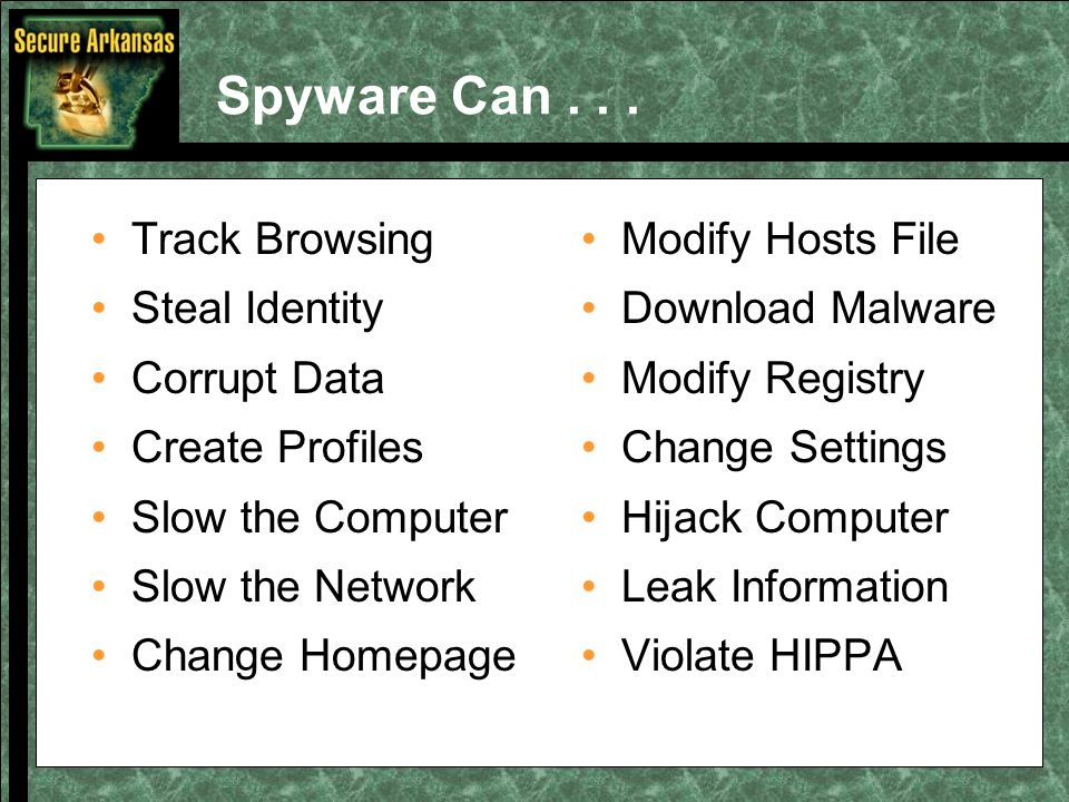 Spyware Can... Track Browsing Steal Identity Corrupt Data Create Profiles Slow the Computer Slow the Network Change Homepage Modify Hosts File Downloa