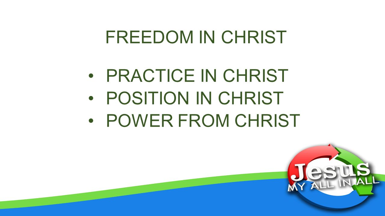 FREEDOM IN CHRIST PRACTICE IN CHRIST POSITION IN CHRIST POWER FROM CHRIST