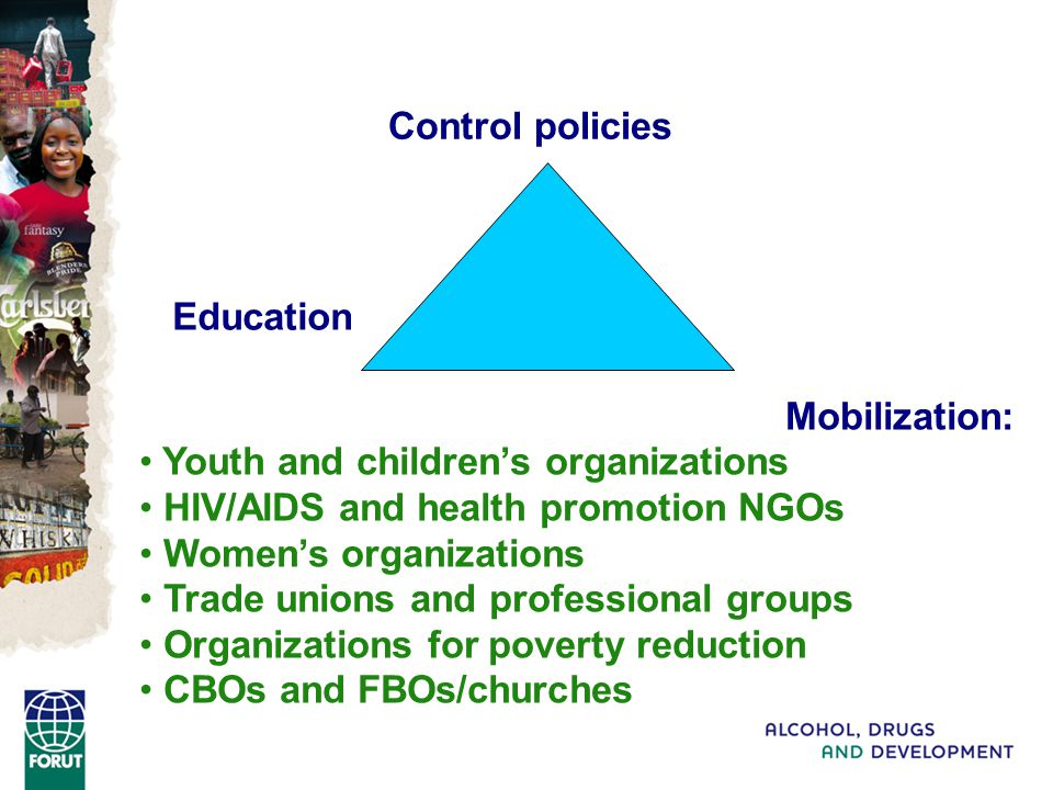 Control policies Mobilization: Youth and children's organizations HIV/AIDS and health promotion NGOs Women's organizations Trade unions and professional groups Organizations for poverty reduction CBOs and FBOs/churches Education