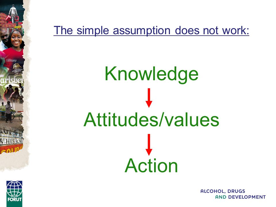The simple assumption does not work: Knowledge Attitudes/values Action