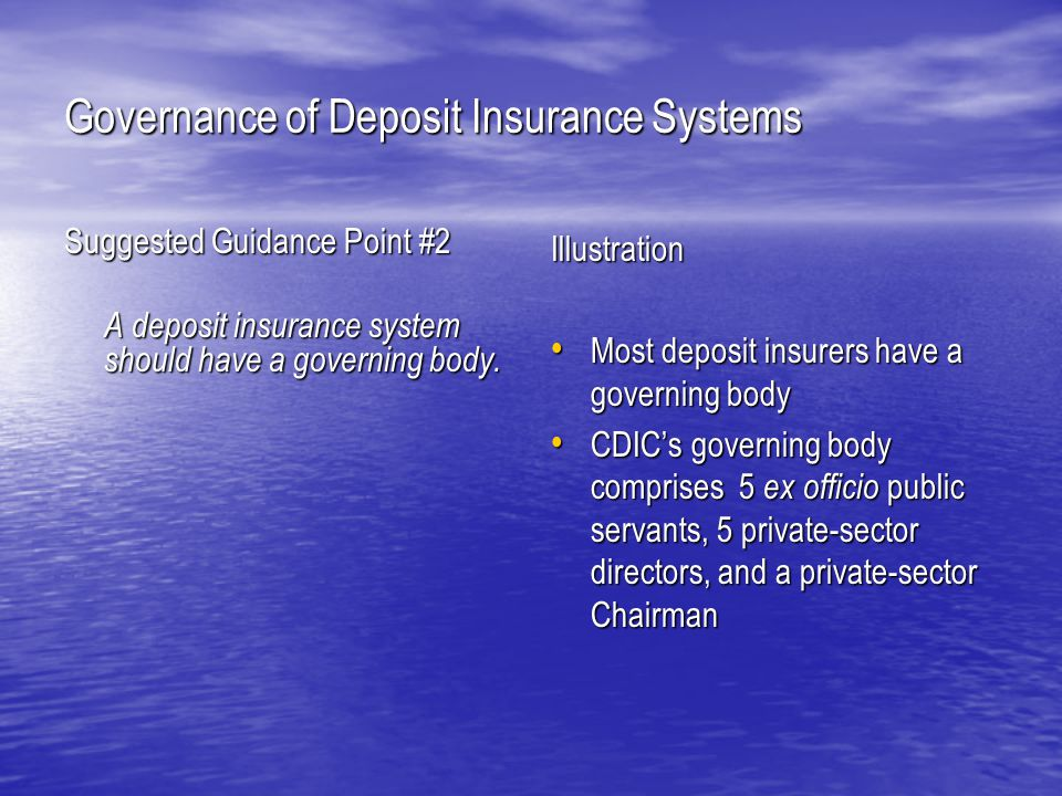 Governance of Deposit Insurance Systems Presented by: Mr.