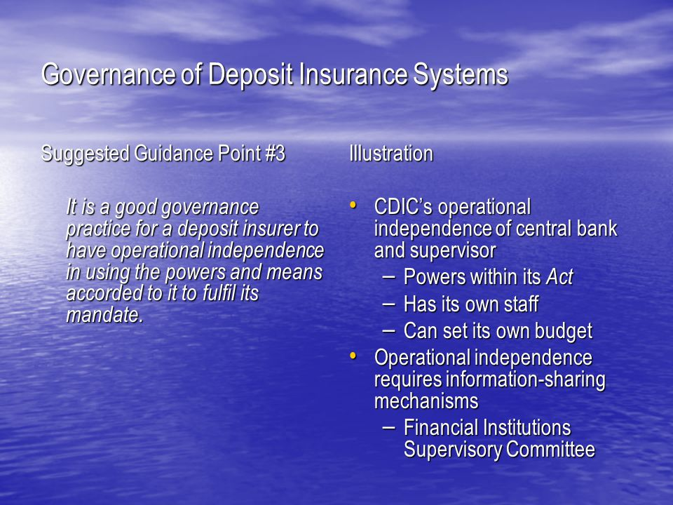 Governance of Deposit Insurance Systems Suggested Guidance Point #10 It is a good governance practice for the governing body to have a charter or policy in place that lays out the governing body's responsibilities.