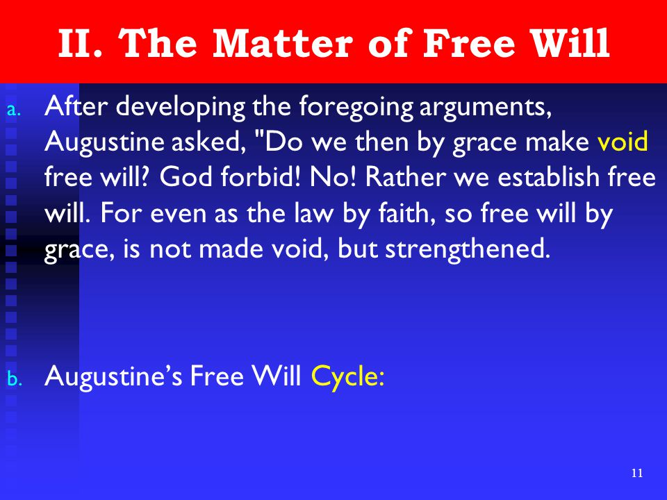 11 II. The Matter of Free Will a.
