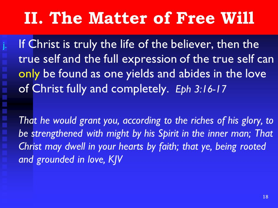 18 II. The Matter of Free Will j.