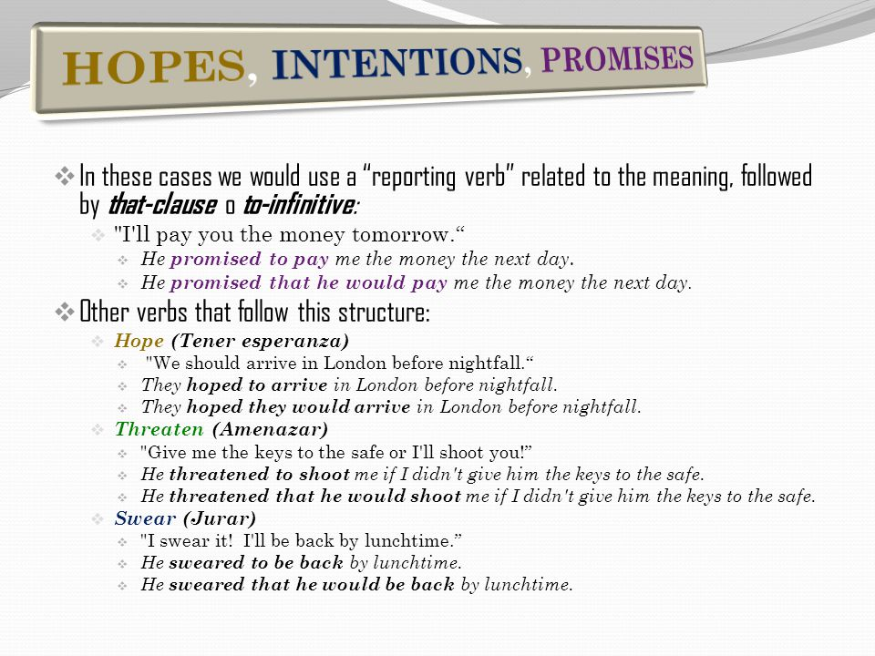 " In these cases we would use a ""reporting verb"" related to the meaning, followed by that-clause o to-infinitive : "