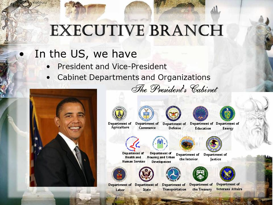 Executive Branch In the US, we have President and Vice-President Cabinet Departments and Organizations