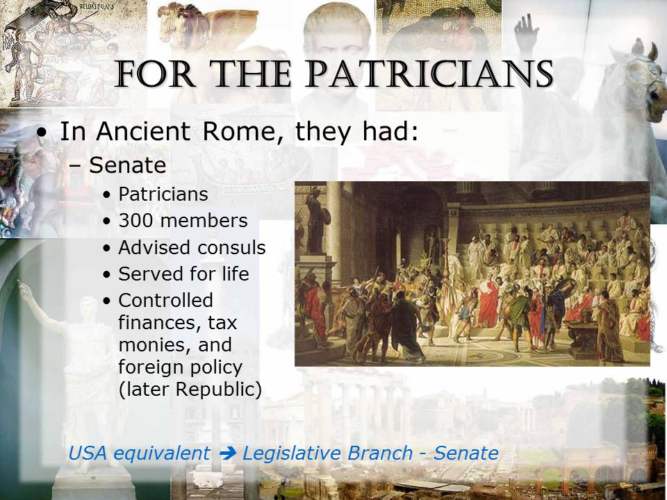 For the Patricians In Ancient Rome, they had: –Senate Patricians 300 members Advised consuls Served for life Controlled finances, tax monies, and foreign policy (later Republic) USA equivalent  Legislative Branch - Senate