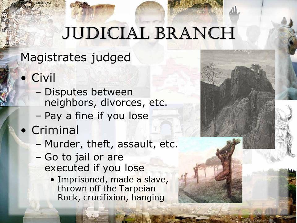 Judicial Branch Magistrates judged Civil –Disputes between neighbors, divorces, etc. –Pay a fine if you lose Criminal –Murder, theft, assault, etc. –G