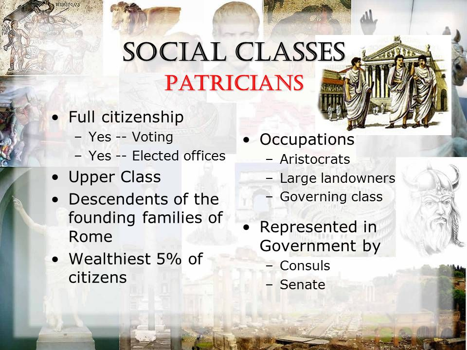 Social Classes Full citizenship –Yes -- Voting –Yes -- Elected offices Upper Class Descendents of the founding families of Rome Wealthiest 5% of citiz