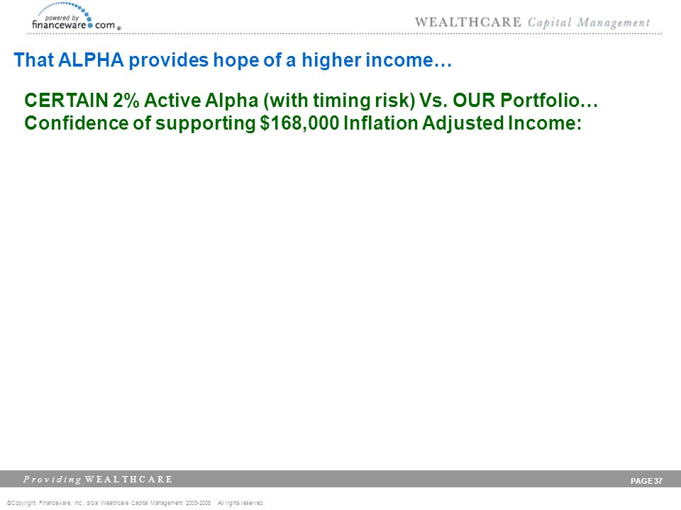 ©Copyright Financeware, Inc., d/b/a Wealthcare Capital Management 2003-2008 All rights reserved P r o v i d i n g W E A L T H C A R E PAGE 37 That ALPHA provides hope of a higher income… CERTAIN 2% Active Alpha (with timing risk) Vs.
