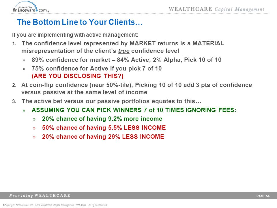 ©Copyright Financeware, Inc., d/b/a Wealthcare Capital Management 2003-2008 All rights reserved P r o v i d i n g W E A L T H C A R E PAGE 54 The Bottom Line to Your Clients… If you are implementing with active management: 1.