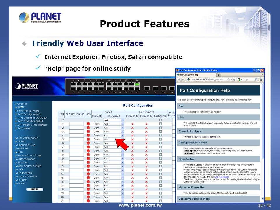 "12 / 42 Product Features  Friendly Web User Interface Internet Explorer, Firebox, Safari compatible "" Help "" page for online study"