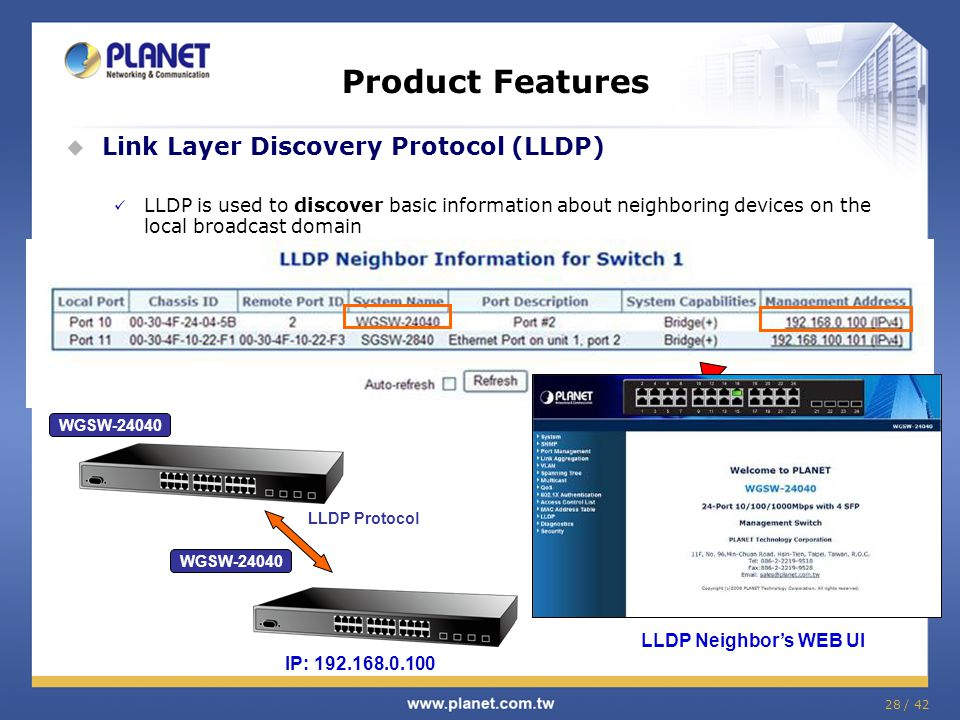 28 / 42 Product Features  Link Layer Discovery Protocol (LLDP) LLDP is used to discover basic information about neighboring devices on the local broa