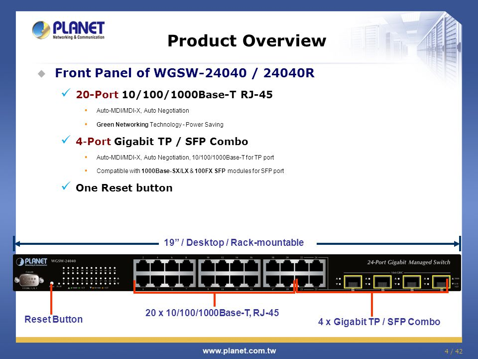 Product Comparison PLANET Model nameWGSW-24040 / 24040R v1WGSW-24040 / 24040R v2WGSW-28040 Layer 2 Features Bandwidth ControlIn / OutIn / -In / Out Link Aggreg ation Static12 Trunks / 16 Ports 8 Trunks / 8 Ports LACP12 Trunks / 16 Ports 8 Trunks / 8 Ports VLAN 802.1Q ■■■ Q-in-Q ■■■ Private VLAN ■■■ MAC-Based VLAN - ■ - Protocol-Based VLAN - ■ - IP-Based VLAN - ■■ Voice VLAN ■■■ Active VLAN (1q/port)255 Spannin g Tree 802.1D ■■■ 802.1w ■■■ 802.1s ■■■ BPDU Guard ■■■ Loop Protection - ■ - Multicst IPv4 IGMP SnoopingV1,V2, V3 IPv4 IGMP Query mode ■■■ IGMP Router Port mode-Auto / Static / NoneStatic / Forbid IGMP Snooping Leave Proxy ■■ - IPv6 MLD Snooping - ■ - IPv6 MLD Query mode - ■ - MLD Snooping Leave Proxy - ■ - MVR ■■ -