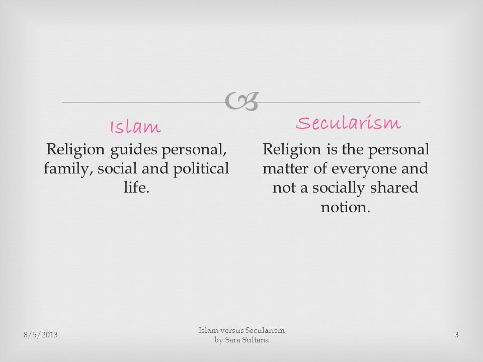  8/5/2013 Islam versus Secularism by Sara Sultana 3 Religion guides personal, family, social and political life.
