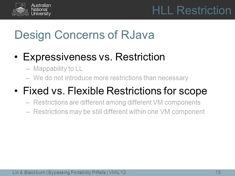 Design Concerns of RJava Expressiveness vs.