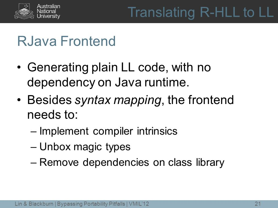 RJava Frontend Generating plain LL code, with no dependency on Java runtime.