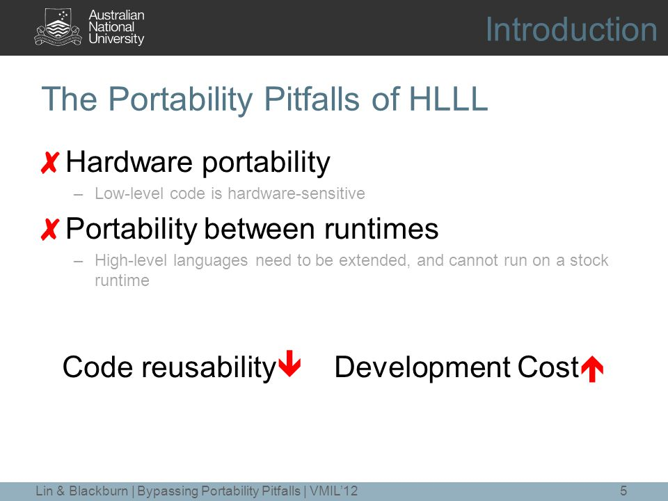 The Portability Pitfalls of HLLL ✘ Hardware portability –Low-level code is hardware-sensitive ✘ Portability between runtimes –High-level languages need to be extended, and cannot run on a stock runtime 5 Code reusability  Development Cost  Introduction Lin & Blackburn | Bypassing Portability Pitfalls | VMIL'12