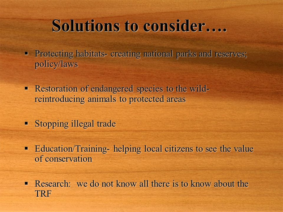 Solutions to consider….