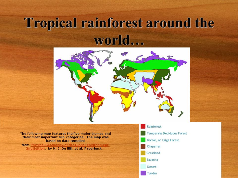 Tropical rainforest around the world… The following map features the five major biomes and their most important sub-categories.