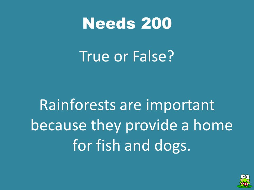 Needs 200 True or False? Rainforests are important because they provide a home for fish and dogs.