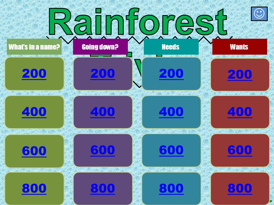 Wants 800 What is it called when we destroy the rainforests?
