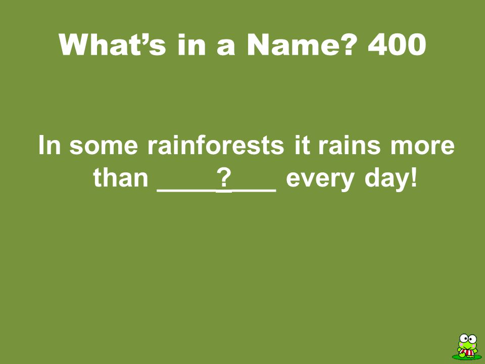 ANSWER Rainforest Trivia Two resources we get from the rainforest are medicine and food.