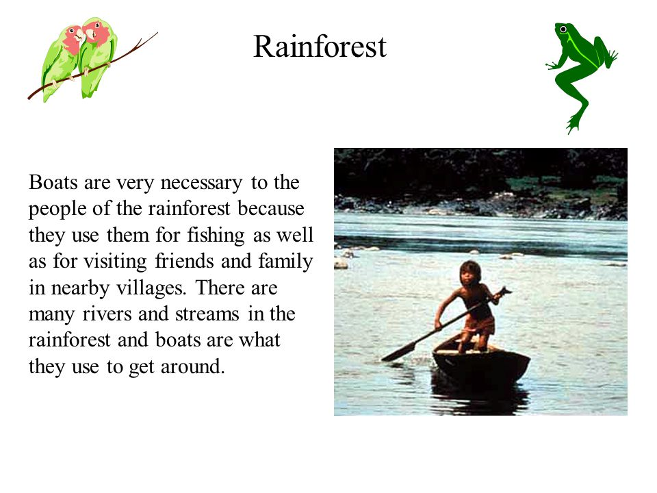 Boats are very necessary to the people of the rainforest because they use them for fishing as well as for visiting friends and family in nearby villages.