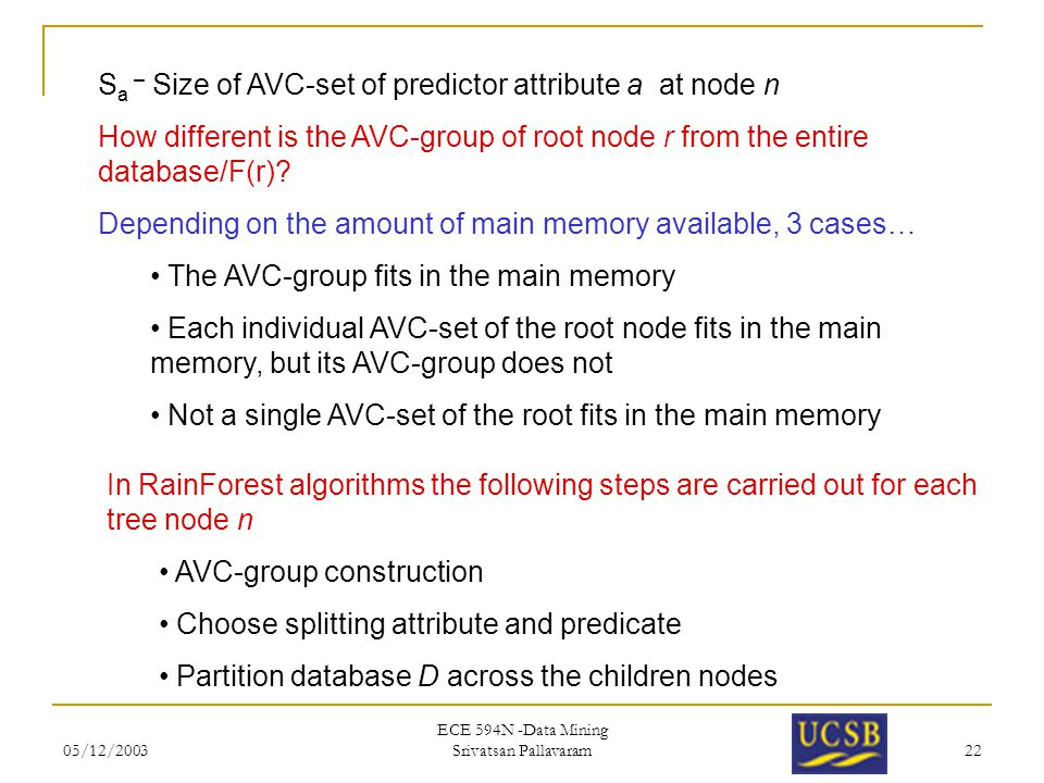 05/12/2003 ECE 594N -Data Mining Srivatsan Pallavaram 22 S a – Size of AVC-set of predictor attribute a at node n How different is the AVC-group of ro