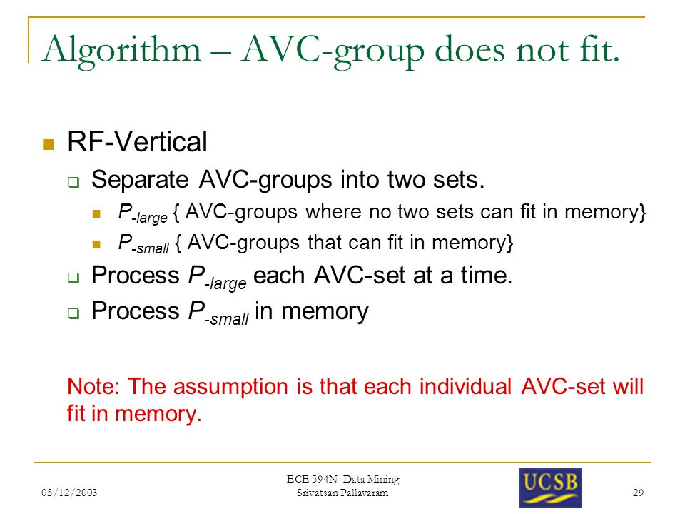05/12/2003 ECE 594N -Data Mining Srivatsan Pallavaram 29 Algorithm – AVC-group does not fit.