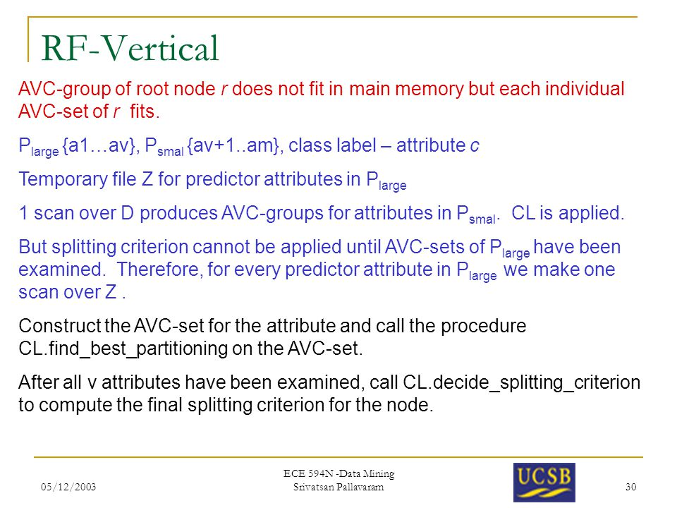 05/12/2003 ECE 594N -Data Mining Srivatsan Pallavaram 30 RF-Vertical AVC-group of root node r does not fit in main memory but each individual AVC-set of r fits.