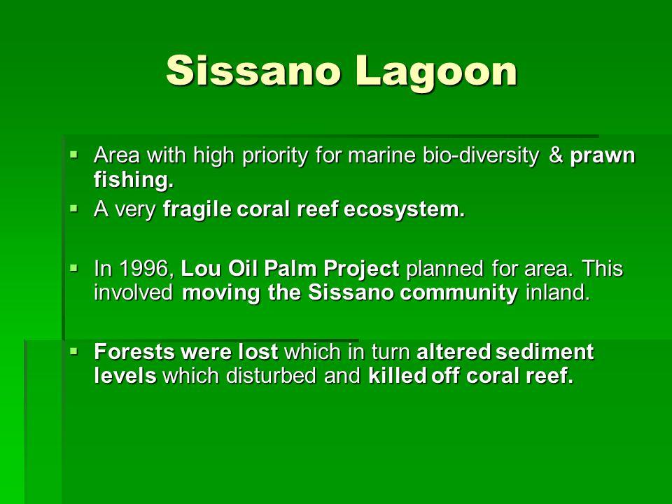 Sissano Lagoon  Area with high priority for marine bio-diversity & prawn fishing.