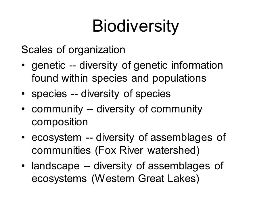 Biodiversity Scales of organization genetic -- diversity of genetic information found within species and populations species -- diversity of species community -- diversity of community composition ecosystem -- diversity of assemblages of communities (Fox River watershed) landscape -- diversity of assemblages of ecosystems (Western Great Lakes)