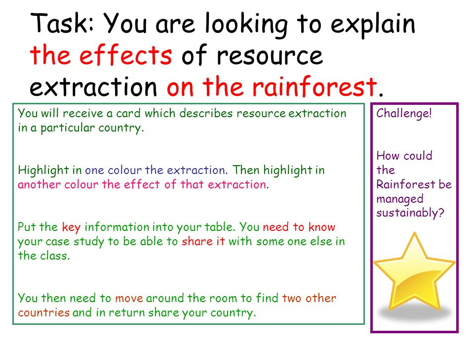 Task: You are looking to explain the effects of resource extraction on the rainforest. You will receive a card which describes resource extraction in