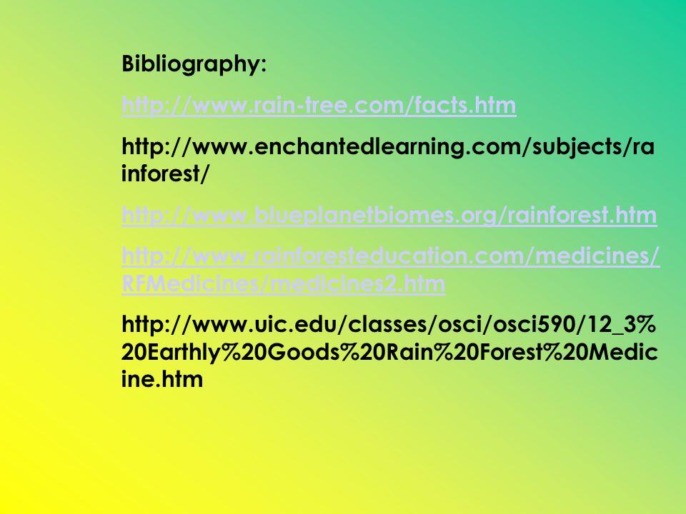 Bibliography: http://www.rain-tree.com/facts.htm http://www.enchantedlearning.com/subjects/ra inforest/ http://www.blueplanetbiomes.org/rainforest.htm