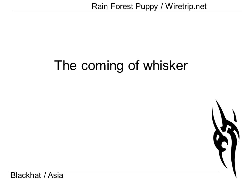 Blackhat / Asia Rain Forest Puppy / Wiretrip.net The coming of whisker