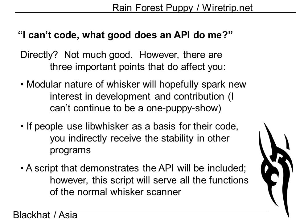Blackhat / Asia Rain Forest Puppy / Wiretrip.net I can't code, what good does an API do me Directly.