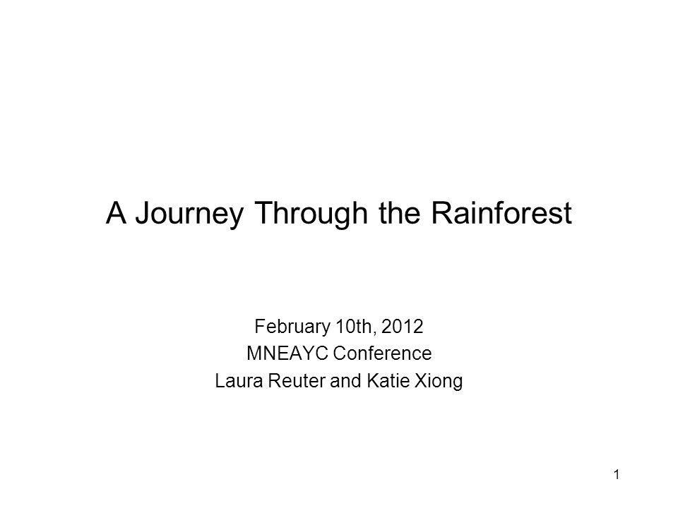 1 A Journey Through the Rainforest February 10th, 2012 MNEAYC Conference Laura Reuter and Katie Xiong