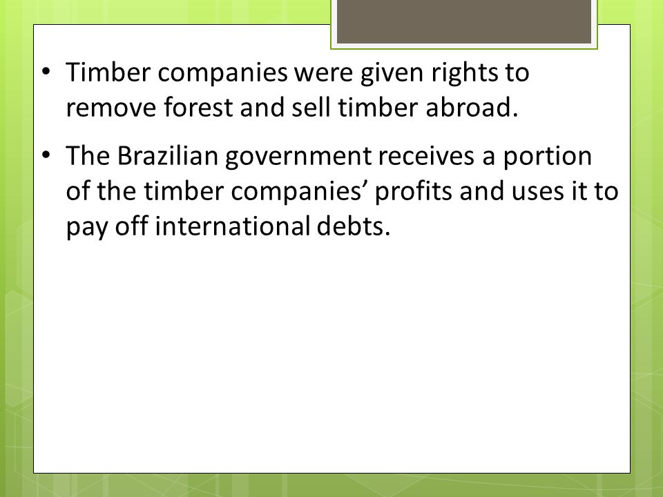 Timber companies were given rights to remove forest and sell timber abroad.