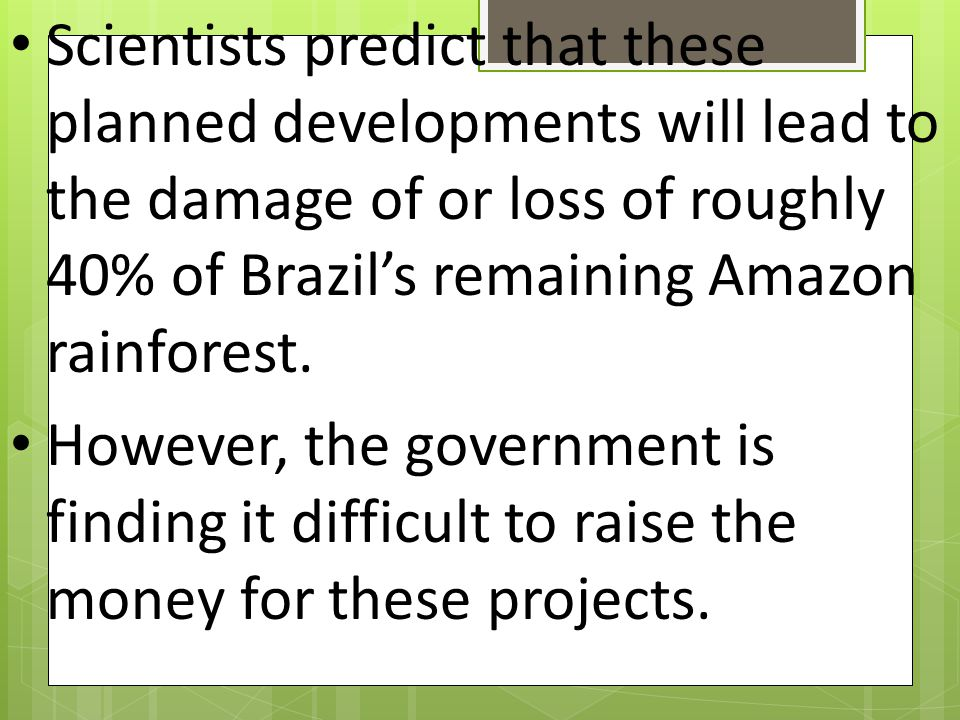 Scientists predict that these planned developments will lead to the damage of or loss of roughly 40% of Brazil's remaining Amazon rainforest.