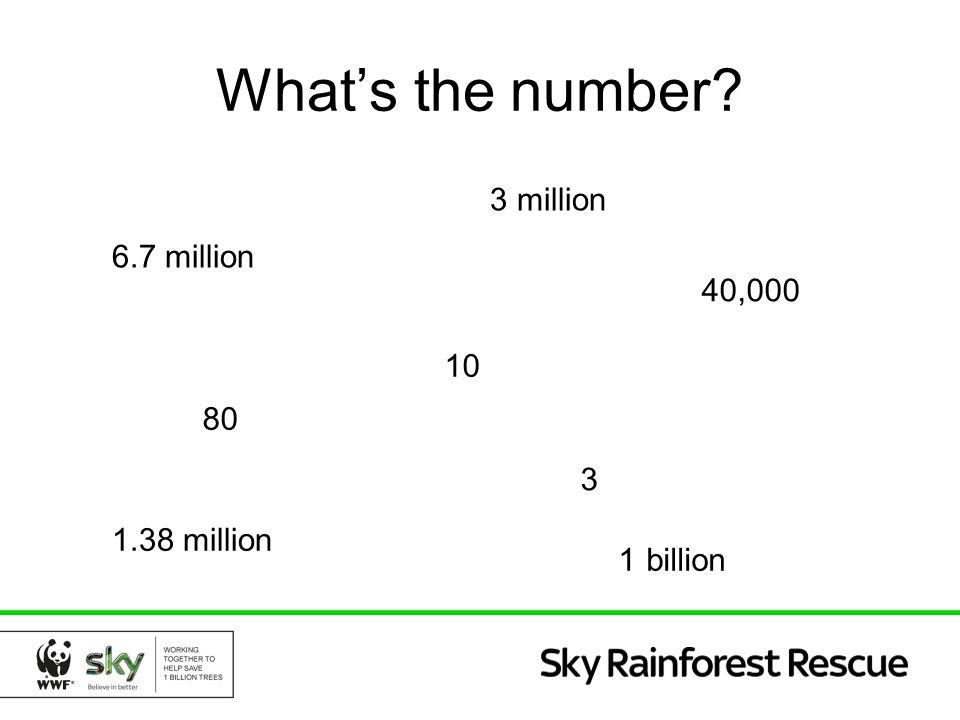 6.7 million What's the number? 3 million 1 billion 1.38 million 3 40,000 80 10