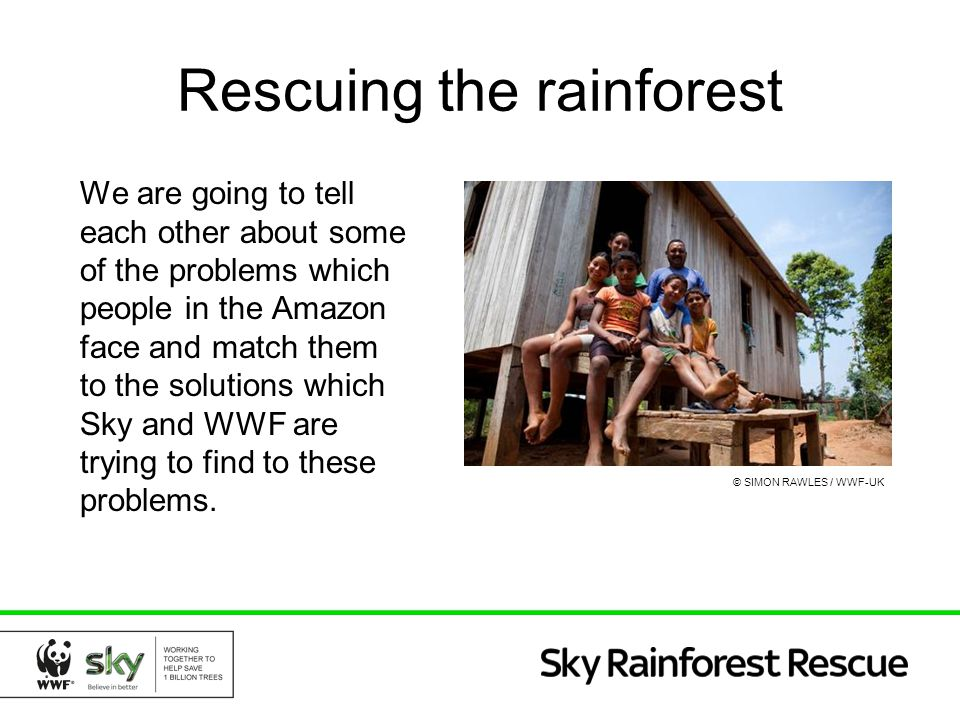 Rescuing the rainforest We are going to tell each other about some of the problems which people in the Amazon face and match them to the solutions whi