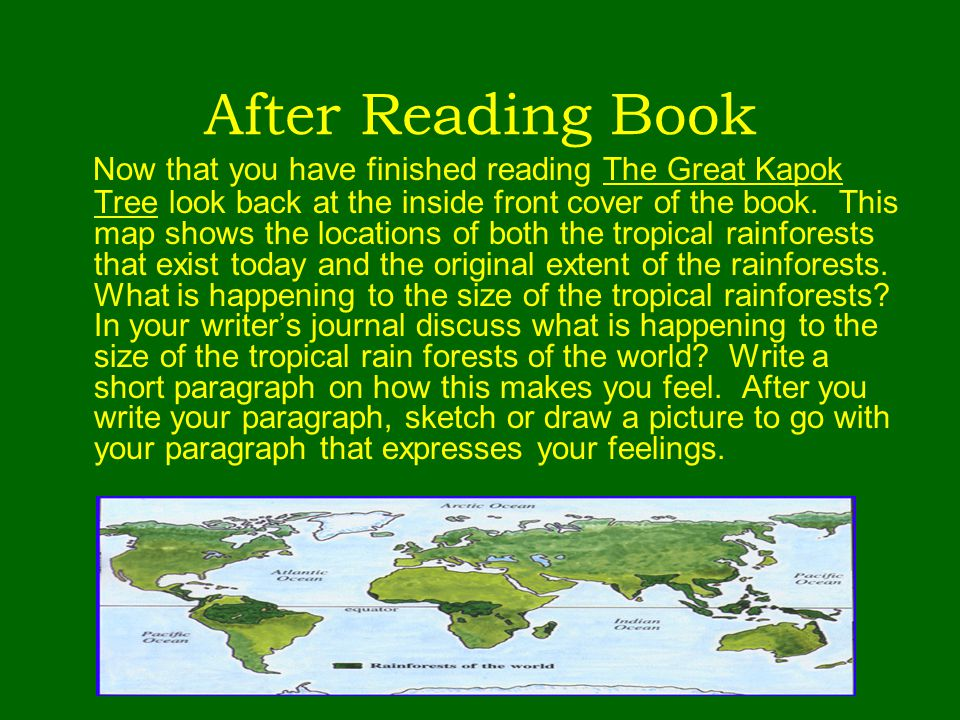 After Reading Book Now that you have finished reading The Great Kapok Tree look back at the inside front cover of the book. This map shows the locatio