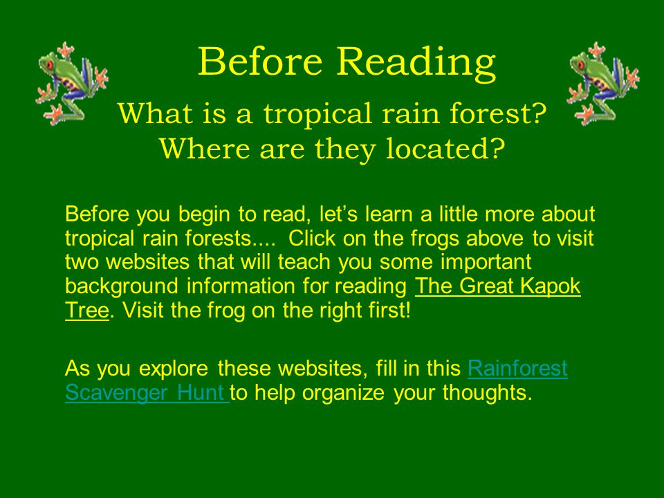 What is a tropical rain forest? Where are they located? Before you begin to read, let's learn a little more about tropical rain forests.... Click on t