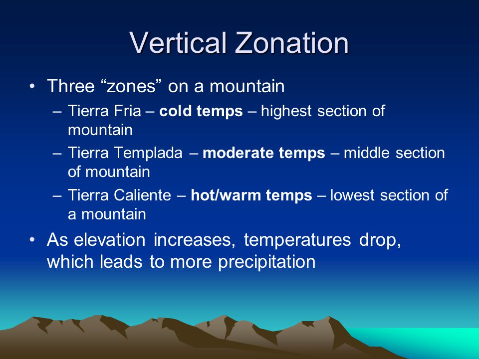 Vertical Zonation Three zones on a mountain –Tierra Fria – cold temps – highest section of mountain –Tierra Templada – moderate temps – middle section of mountain –Tierra Caliente – hot/warm temps – lowest section of a mountain As elevation increases, temperatures drop, which leads to more precipitation
