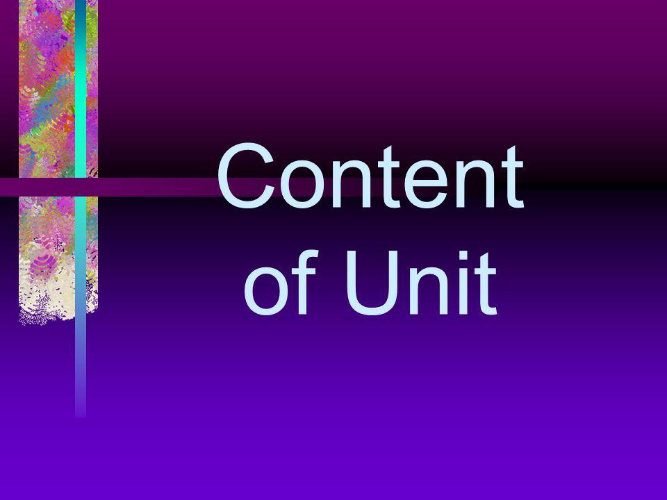 Content of Unit